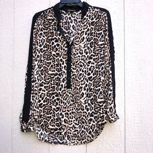 Heart Soul leopard print LS blouse size medium